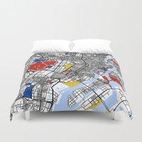 mondrian Duvet Covers featuring Tokyo Mondrian by Mondrian Maps