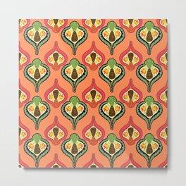 Retro Pinecones Metal Print