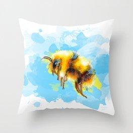 Bumble Away Bumble Bee - Insect Illustration Throw Pillow