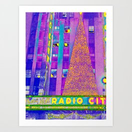 Radio City Music Hall with Holiday Tree, New York City, New York Art Print