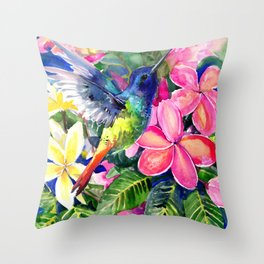Hummingbird and Plumeria Florwers Tropical bright colored foliage floral Hawaiian Flowers Throw Pillow
