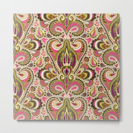 Retro Mod Paisley in Hot Pink & Olive Green - 1960s 1970s Metal Print