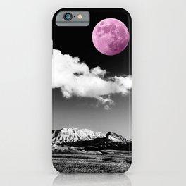 Black Desert Sky & Fuchsia Moon // Red Rock Canyon Las Vegas Mojave Lune Celestial Mountain Range iPhone Case
