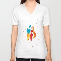 hindu V-neck T-shirts featuring Radha Krishna Hindu god of Love by IDigType