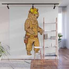 Construction Worker Grizzly Bear Wall Mural