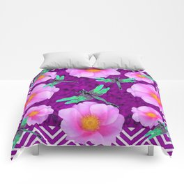 Aqua Dragonflies Pink Roses Purple Abstract Pattern Art Comforters
