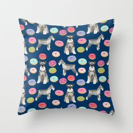 Schnauzer dog breed donuts doughnut pet art schnauzers pure breed gifts Throw Pillow