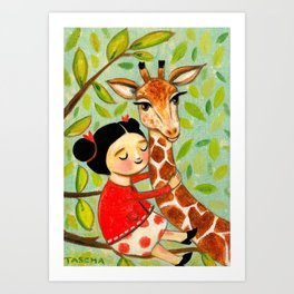 Giraffe Hug sweet painting by Tascha Parkinson Art Print