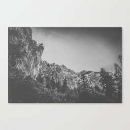 looking up at dramatic black and white cliffs Canvas Print