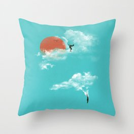 Skydivers (recolor) Throw Pillow