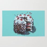 dessert Area & Throw Rugs featuring Dessert : Black Forest Cake by Jody Edwards Art
