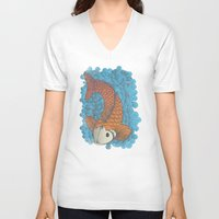 koi V-neck T-shirts featuring KOI by Matthew Taylor Wilson