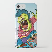 snowboarding iPhone & iPod Cases featuring Snowboarding by Brain Drain Fox