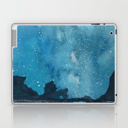 """Reflections Galaxy"" blue watercolor landscape painting Laptop & iPad Skin"
