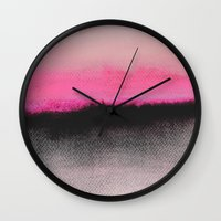 pink floyd Wall Clocks featuring Double Horizon by Georgiana Paraschiv