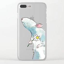 Woodland mouse with a flower Clear iPhone Case