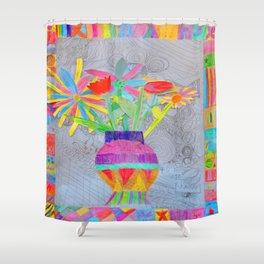 Flower Vase | Kids Painting | 3D Collage Shower Curtain