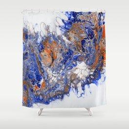 Team Splash, Orange and Blue Shower Curtain