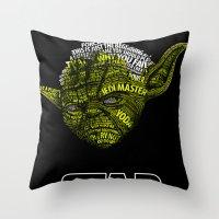 yoda Throw Pillows featuring Yoda by Stormega