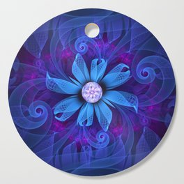 A Snowy Edelweiss Blooming as a Blue Origami Orchid Cutting Board