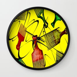 Afro Comb-Yellow Wall Clock