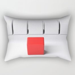 Line of white cubes in front of a red one - 3D rendering Rectangular Pillow