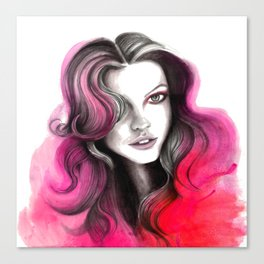 Pink and Red Flame Hair Canvas Print