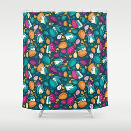 Busy Easter Bunnies Shower Curtain
