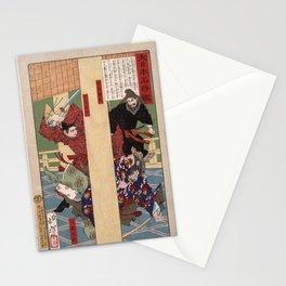 Yoshitoshi - A Mirror of Great Warriors of Japan (1878): Prince Oe Killing the Usurper Iruka Stationery Cards