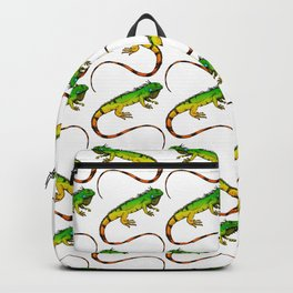Green Iguana Reptile Lizard Pattern Backpack