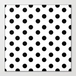 White & Black Polka Dots Canvas Print