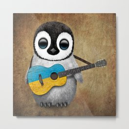 Baby Penguin Playing Ukrainian Flag Guitar Metal Print