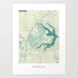 Brasilia Map Blue Vintage Art Print