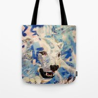 polar bear Tote Bags featuring Polar Bear by Michael Hammond