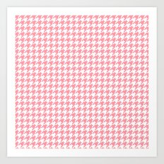 Pink Houndstooth Pattern Art Print