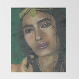 Lady in Green Throw Blanket