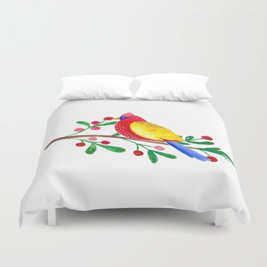 Winterbird - Bird Watercolor Illustration Duvet Cover