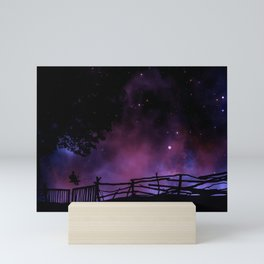 Magnificent Fairytale Boy On Seesaw Silhouette Purple Night Sky Mini Art Print