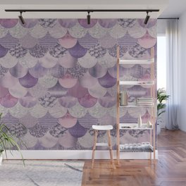 Pale Pink Pastel Glamour Mermaid Scale Pattern Wall Mural