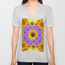 Lilac & Yellow Sunflowers Pattern Art Unisex V-Neck
