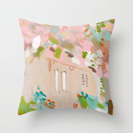 southern europe sun France Italy abstract painting Throw Pillow