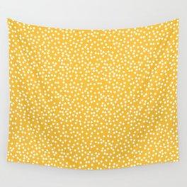 Mustard Yellow and White Polka Dot Pattern Wall Tapestry