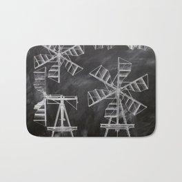 steampunk western country chalkboard art agriculture farm windmill patent print Bath Mat