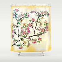 cherry blossoms Shower Curtains featuring Cherry Blossoms by famenxt