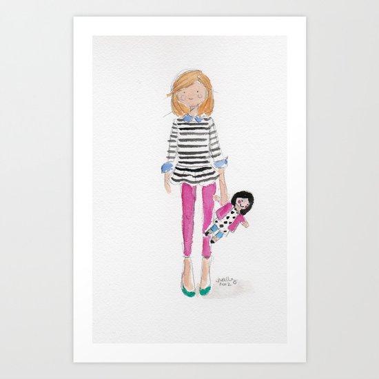 A girl & her doll Art Print