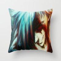 gurren lagann Throw Pillows featuring Gurren Lagan by ururuty