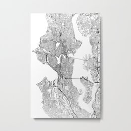 Seattle White Map Metal Print