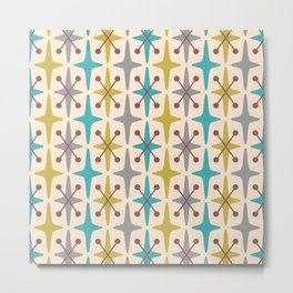Mid Century Modern Abstract Star Pattern 441 Gray Brown Turquoise Olive Green Metal Print
