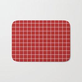 Carnelian - red color - White Lines Grid Pattern Bath Mat