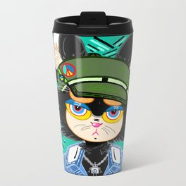 """Bored Kitty"" Portrait, comic art, comics, graphic design, cat, cats, cartoon, hipster Metal Travel Mug"